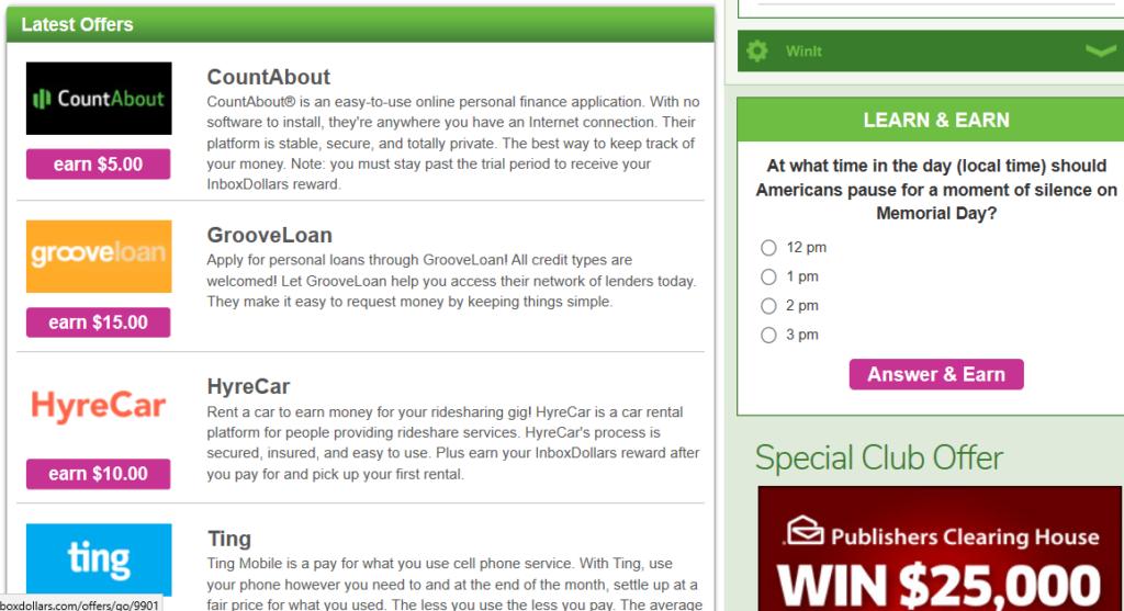 Screenshot, InboxDollars site
